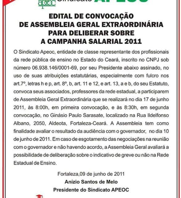 Edital de convocação de Assembleia Geral Extraordinária para deliberar sobre a Campanha Salarial 2011
