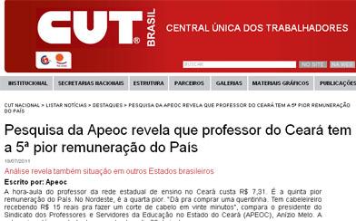 CUT NACIONAL repercute Pesquisa da Apeoc sobre salários dos professores no Brasil