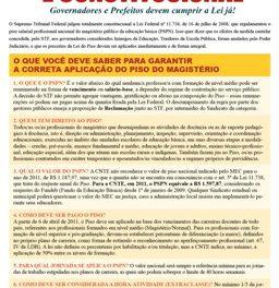 LEI DO PISO É CONSTITUCIONAL – Governadores e Prefeitos devem cumprir a Lei já!
