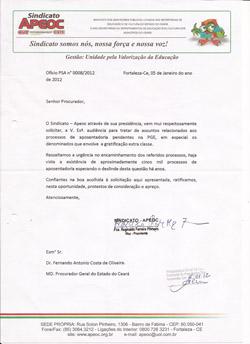 APOSENTADORIA DOS PROFESSORES COM GRATIFICAÇÃO EXTRACLASSE: Sindicato-APEOC formaliza pedido de audiência à PGE