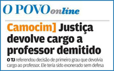 Justiça devolve cargo a professor demitido em Camocim*