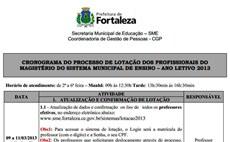 Magistério de Fortaleza: Lotação e Planilhas 2013