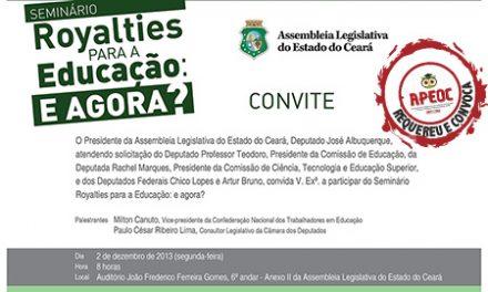 APEOC  convida para Seminário na Assembleia dia 02/12