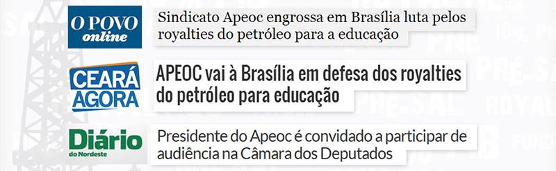 """Repercute nacionalmente campanha da APEOC """"Royalties do Petróleo para Valorização dos Profissionais da Educação"""""""