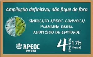Ampliação Definitiva: Plenária Geral com Professores, terça (04/02), 17h.