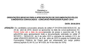 Concurso Professor (2013): Orientações para apresentação de documentação
