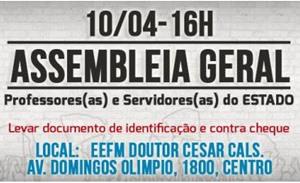 Quinta (10/04, 16h): Assembleia Capital e Região Metropolitana