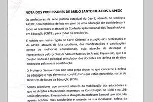 Brejo Santo: Nota aos professores filiados a APEOC