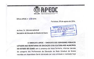 Sindicato APEOC cobra audiência com Secretário da Educação após fim da Greve
