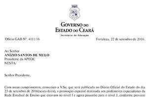 Promoção Especial: Seduc responde ofício do Sindicato APEOC e promete publicar portaria nesta sexta (23)