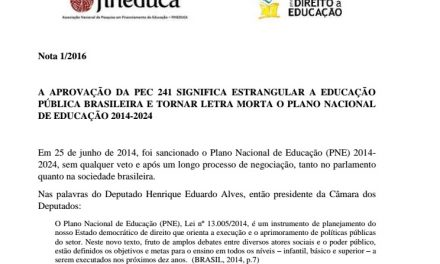Nota técnica mostra efeitos negativos da PEC 241 na Educação
