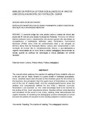 ARTIGO DE DISSERTAÇÃO DE MESTRADO: Análise da prática leitora dos alunos do 9º. ano de uma Escola Municipal de Fortaleza- Ceará