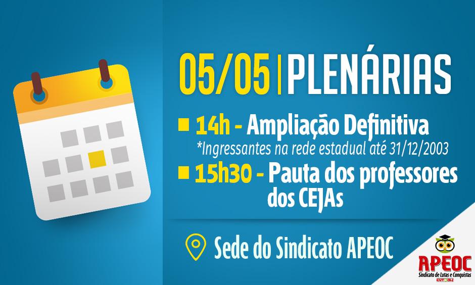 Sindicato APEOC realiza plenárias sobre Ampliação Definitiva e pauta dos CEJAs