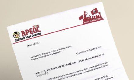 Chorozinho: Sindicato APEOC cobra nova Mesa de Negociação com Prefeitura