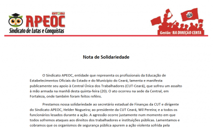 NOTA – Sindicato APEOC solidariza-se com CUT após ataque