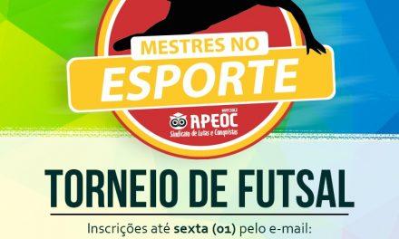 Inscrições para torneio do Projeto Mestres no Esporte seguem até sexta (01)