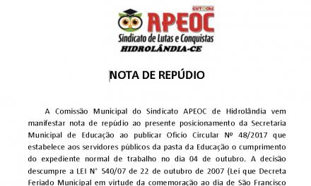 Hidrolândia: Sindicato APEOC repudia decisão da Prefeitura sobre feriado municipal