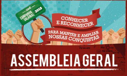 Assembleia Geral da Campanha Salarial de 2018 será realizada em 36 cidades