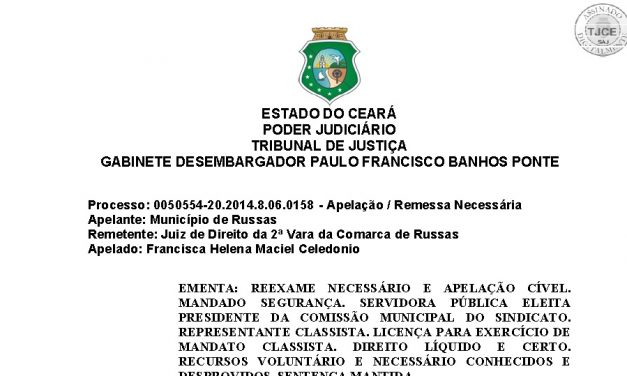 TJ confirma tese sobre representatividade dos dirigentes municipais