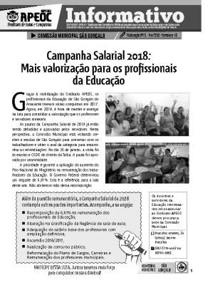 Informativo nº 01 – SÃO GONÇALO