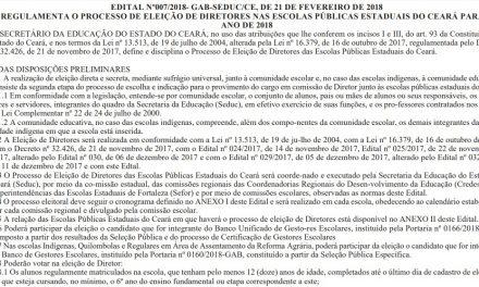 Eleição de diretores: Seduc lança edital com regulamento