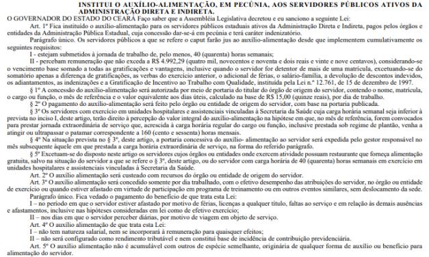 Publicada lei que institui Auxilio Alimentação a servidores estaduais