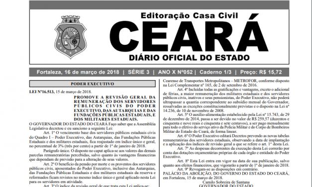 Publicada lei que efetiva Reajuste Salarial dos servidores estaduais