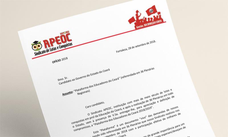 Sindicato APEOC entrega Plataforma da Educação para os candidatos ao Governo do Ceará