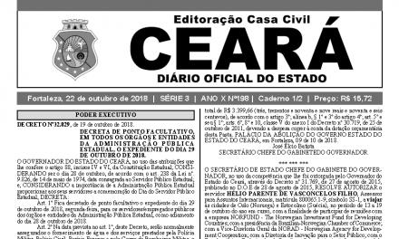 Governo do Ceará decreta Ponto Facultativo na próxima segunda-feira (29)