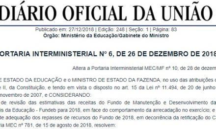 Reajuste do Piso Nacional será de 4,17% em 2019