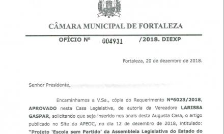 """Matéria sobre """"Escola sem Partido"""" publicada pelo Sindicato APEOC entra para os anais da Câmara Municipal de Fortaleza"""