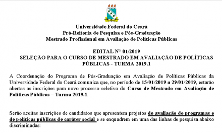 Inscrições para o Mestrado em Avaliação de Políticas Públicas da UFC terão início em 15 de Janeiro