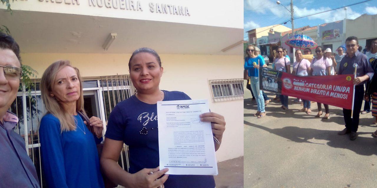 Baixio: APEOC cobra consignação da contribuição sindical e participa de manifestação contra a DEFORMA da Previdência