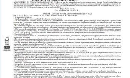 GOVERNO DO CEARÁ PUBLICA PORTARIA PARA MATRÍCULAS DOS ESTUDANTES DA REDE ESTADUAL EM 2020
