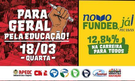 #18M: PARA GERAL PELA EDUCAÇÃO, NOVO FUNDEB E 12,84% JÁ!