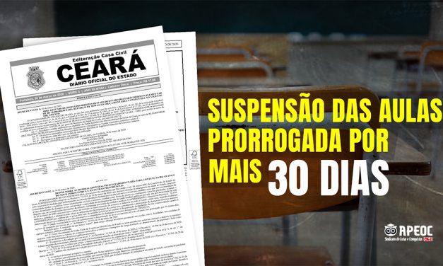 GOVERNO ESTADUAL PRORROGA SUSPENSÃO DAS AULAS POR MAIS 30 DIAS