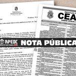 NOTA PÚBLICA: APEOC SE POSICIONA SOBRE A SUSPENSÃO E REPOSIÇÃO DAS AULAS NO ESTADO