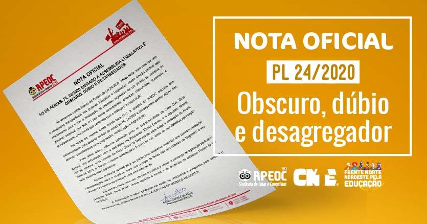 NOTA OFICIAL  1/3 DE FÉRIAS: PL 24/2020 ENVIADO À ASSEMBLEIA LEGISLATIVA É OBSCURO, DÚBIO E DESAGREGADOR