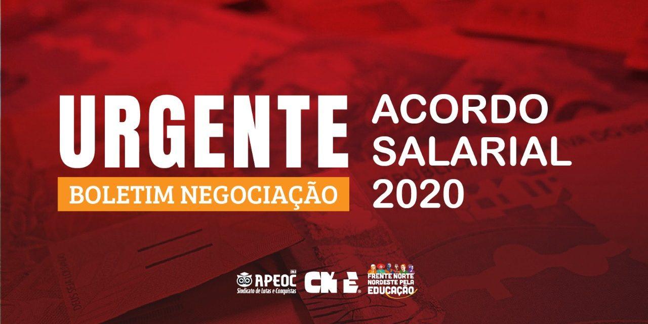 BOLETIM: NEGOCIAÇÃO ACORDO SALARIAL 2020 DO MAGISTÉRIO ESTADUAL