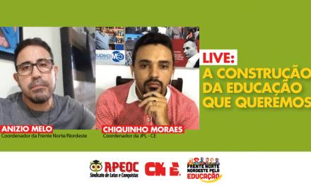 EDUCAÇÃO É O PILAR DA DEMOCRACIA, AFIRMA ANIZIO MELO EM LIVE