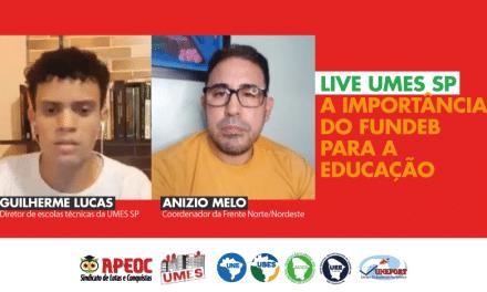 ANIZIO MELO DEFENDE APROVAÇÃO DO NOVO FUNDEB EM LIVE COM UMES- SÃO PAULO