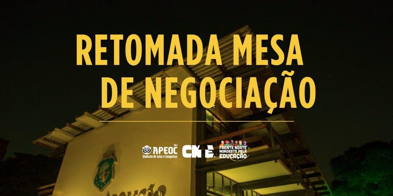RETOMADA MESA DE NEGOCIAÇÃO <br><h3>*Apesar do congelamento de salários, imposto pelo veto de Bolsonaro, APEOC e Governo Estadual retomam Mesa de Negociação</h3>