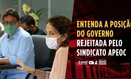 ENTENDA A POSIÇÃO DO GOVERNO REJEITADA PELO SINDICATO APEOC
