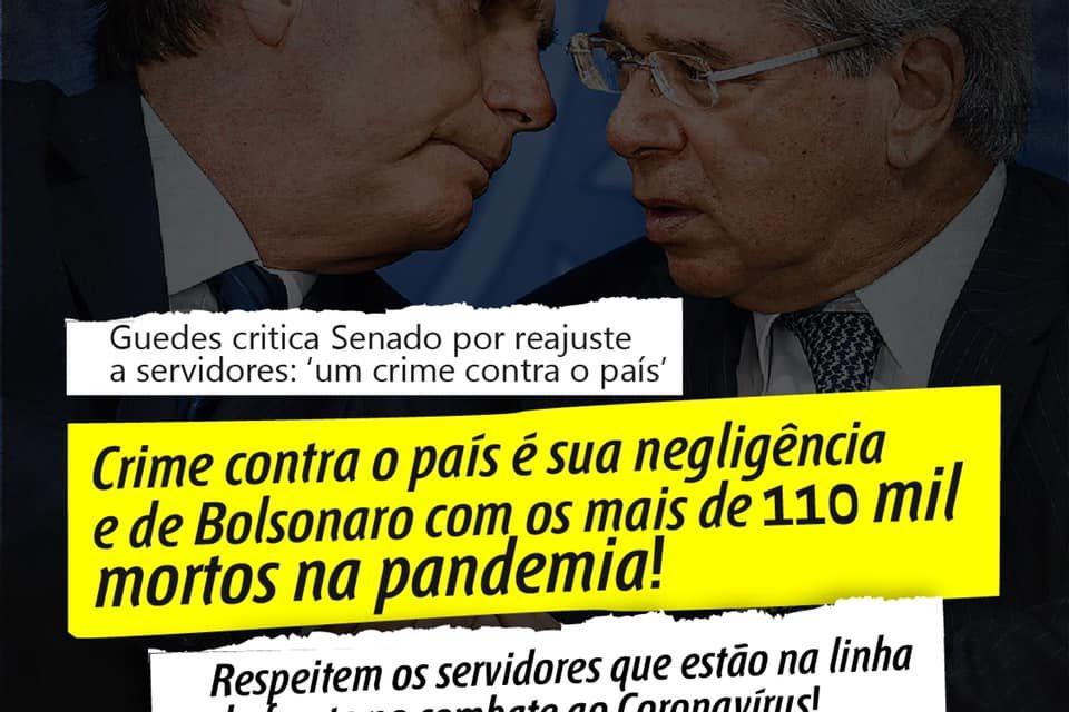 MINISTRO PAULO GUEDES CRÍTICA SENADO  POR REAJUSTE A SERVIDORES