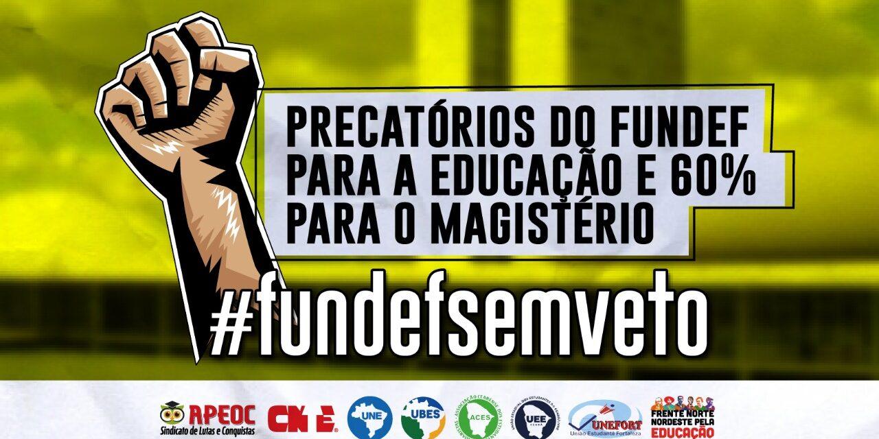 TIRA A MÃO. É DA EDUCAÇÃO! <br><h3>Juntos, lutaremos para derrubar o veto presidencial que é contra a subvinculação dos 60% dos Precatórios do FUNDEF para o Magistério</h3>