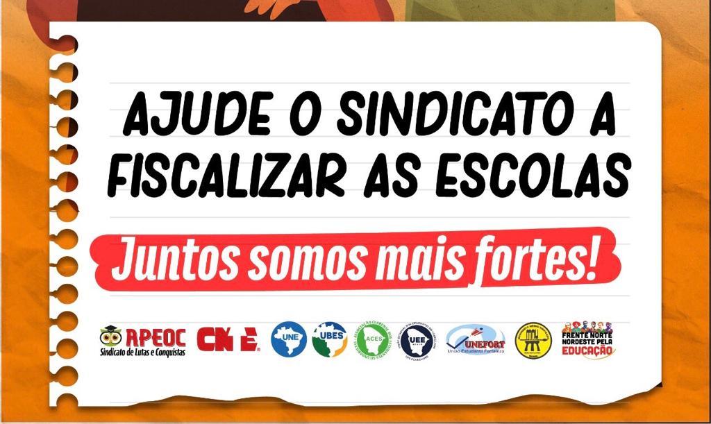 AJUDE O SINDICATO A FISCALIZAR AS ESCOLAS. FAÇA SUA PARTE!