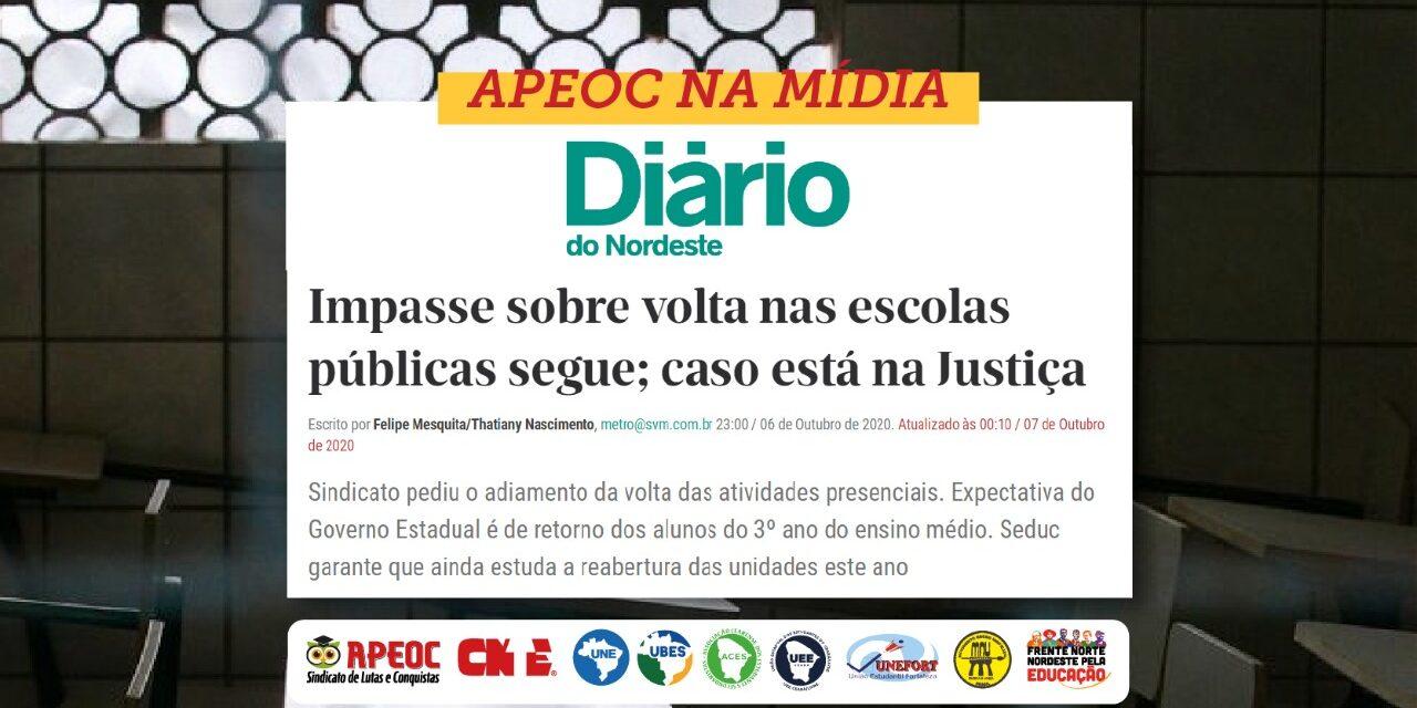 DIÁRIO DO NORDESTE: IMPASSE SOBRE A VOLTA NAS ESCOLAS PÚBLICAS SEGUE; CASO ESTÁ NA JUSTIÇA