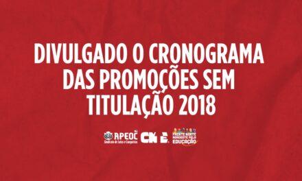 LIBERADO ACESSO AO SISTEMA DA PROMOÇÃO SEM TITULAÇÃO 2018