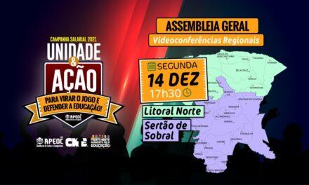 14 DE DEZEMBRO – 17H30 – ASSEMBLEIA GERAL APEOC Videoconferências Regionais