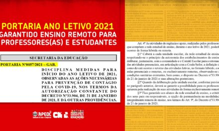 PORTARIA ANO LETIVO 2021: GARANTIDO ENSINO REMOTO PARA PROFESSORES(AS) E ESTUDANTES